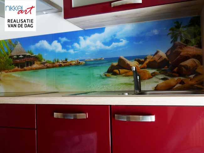 Keuken foto achterwand Koken op het strand