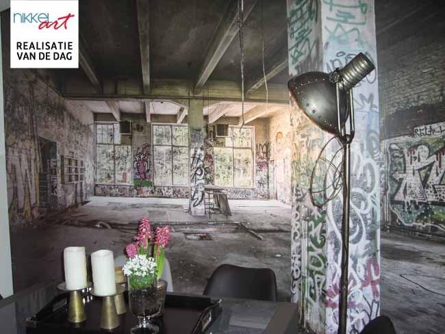 Fotobehang oude verlaten fabriek hall