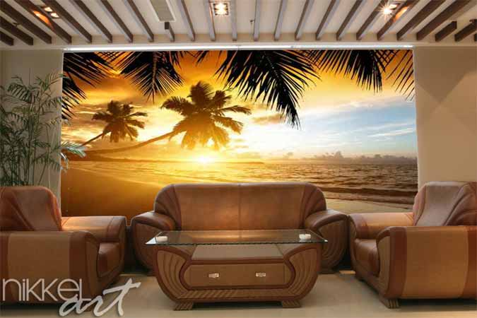 Behang Kinderkamer Strand : Fotobehang zonsondergang op het strand van ...