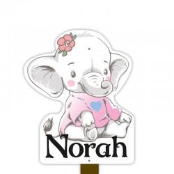 Geboortebord tuin meisje   Olifant