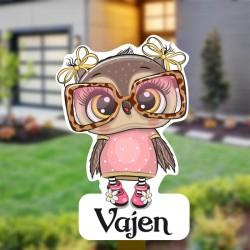 Geboortebord tuin meisje   Uil met bril