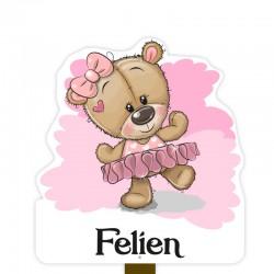 Geboortebord tuin meisje | Teddybeer in tutu