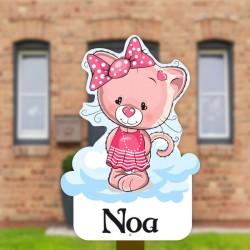 Geboortebord tuin meisje  Katje op wolk