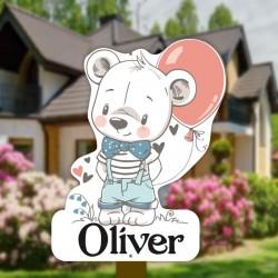 Geboortebord tuin jongen   Teddybeer met ballonnen