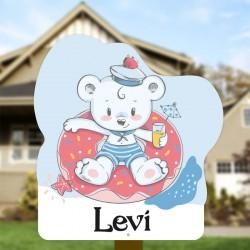 Geboortebord tuin jongen   Teddybeer in zwembad