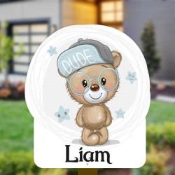 Geboortebord tuin jongen   Teddybear met bril