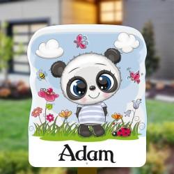 Geboortebord tuin jongen   Panda met streepjes T-shirt