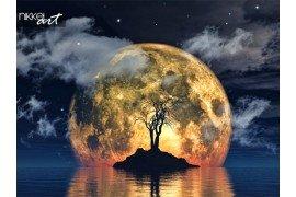 3D render van een griezelige boom tegen een afbeelding van de maan