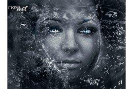 Diepe ogen. zuivering. mooie vrouw in water