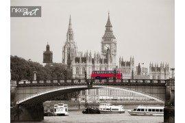 De Big ben huis van Parlement en lambeth bridge met rode bus in Londen