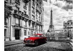 Artistieke Parijs Frankrijk  Eiffel Tower gezien vanaf de straat met rode retro limousine auto