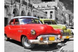 Havana straat met kleurrijke oude auto s in een raw