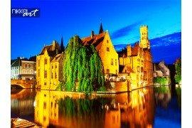Brugge stad bij nacht