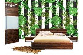 Naadloze patroon met tropische palmbladeren en verticale strepen
