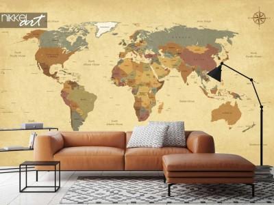 Fotobehang met wereldkaart