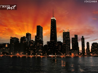 Prachtige chicago wolkenkrabbers silhouet bij zonsondergang