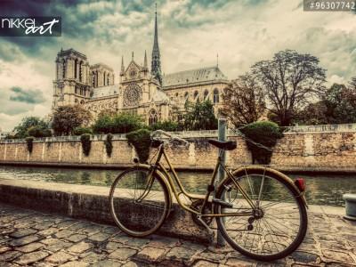 Retro fiets en Notre Dame Cathedral
