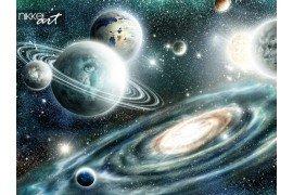 Buitenaardse planeten zonnestelsel op een achtergrond spiraalvormig sterrenstelsel