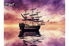 Zeilboot tegen prachtige zonsopgang landschap