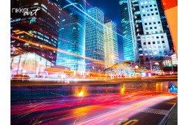 Nachtscène van moderne stad