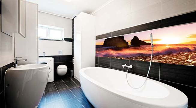 Bathroom splashbacks with print