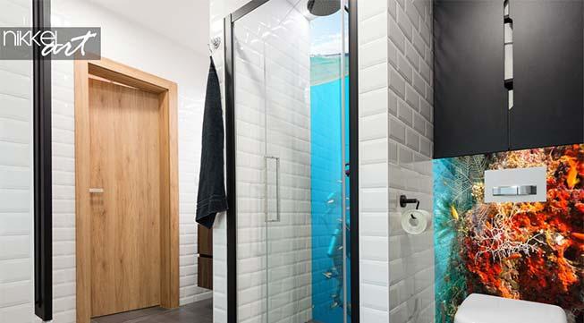 Badkamer achterwand met print