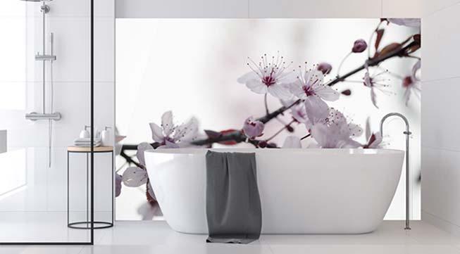 Badkamer achterwand glas met print