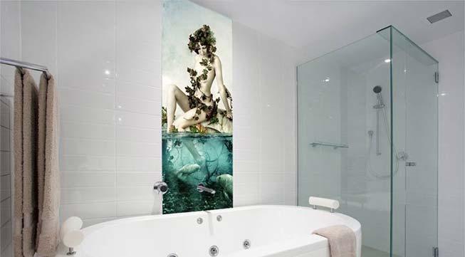 Badkamer glas achterwand met print