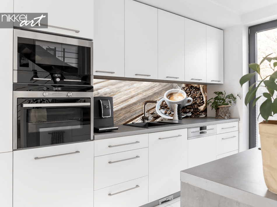 Glass Kitchen Splashback Coffeebeans