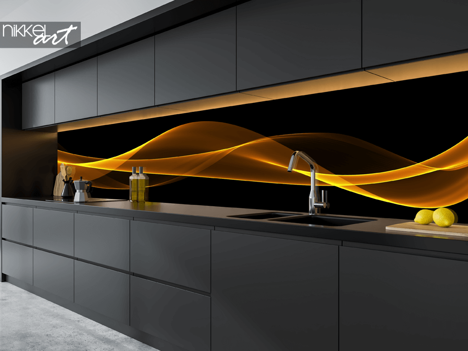 Glass Kitchen Splashback Swirl
