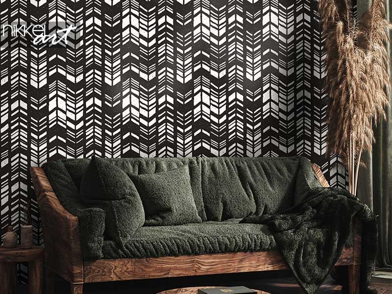 Behang Naadloze hand getrokken stijl chevron patroon in zwart-wit