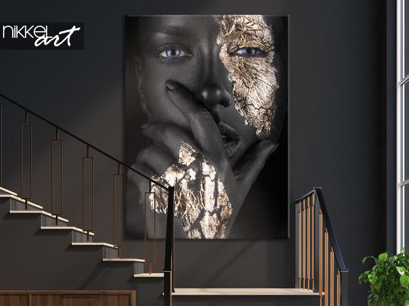 Foto op Canvas Vrouw met gouden accenten