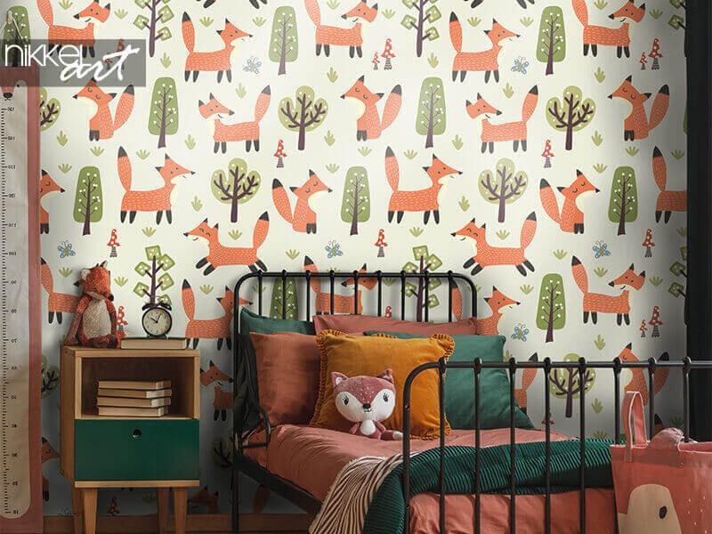 Behang bospatroon met schattige kleine vossen
