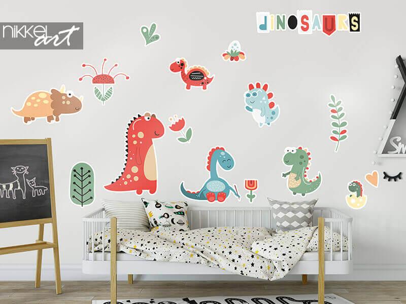 Contoursticker dinosaurussen en bloemen