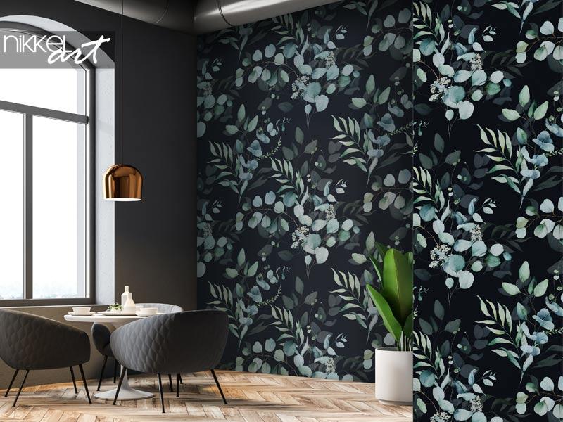 Behang Naadloos aquarel bloemmotief - groene bladeren en takken