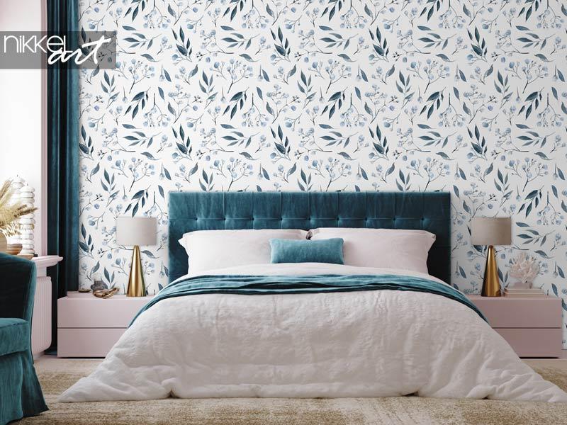Behang Aquarel naadloos patroon met zwarte en blauwe planten