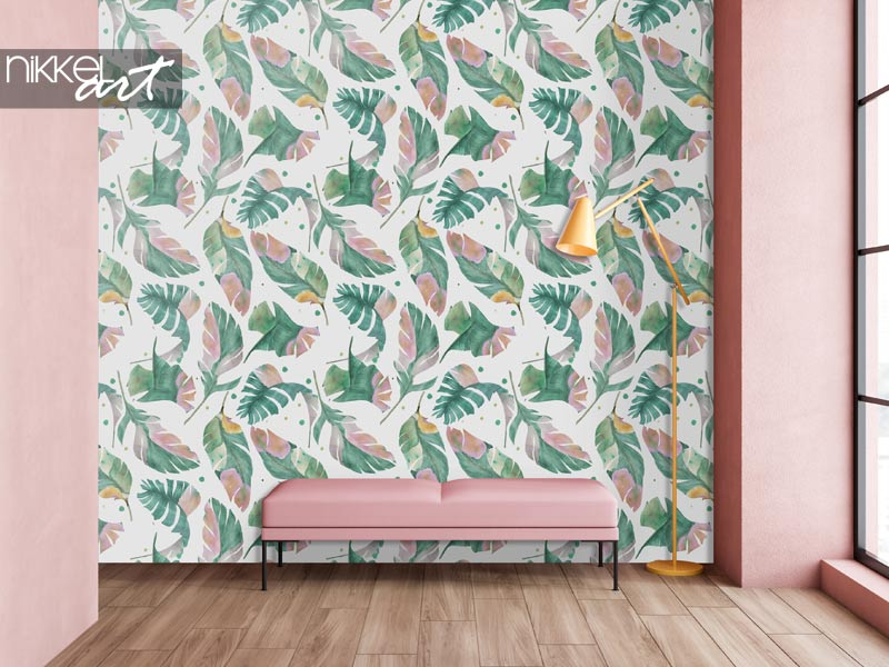 Behang Aquarel naadloos patroon met tropische bananenbladeren