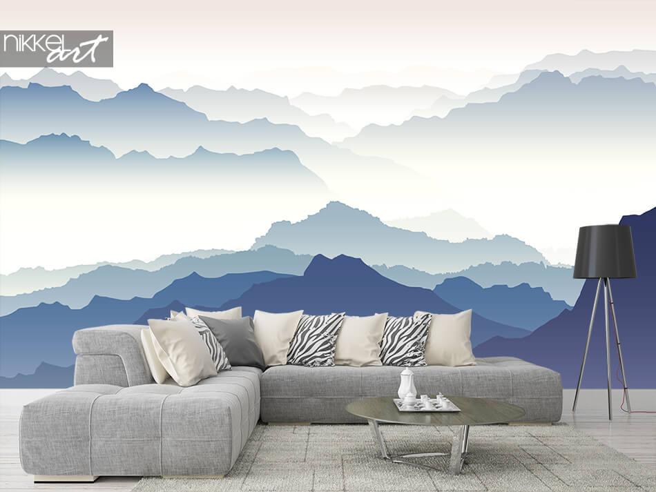 Fotobehang bergen in mist