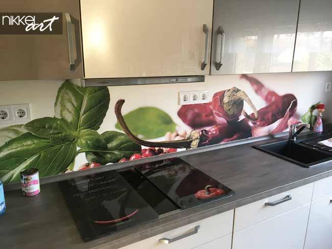 keuken achterwand met foto kruiden nikkelart