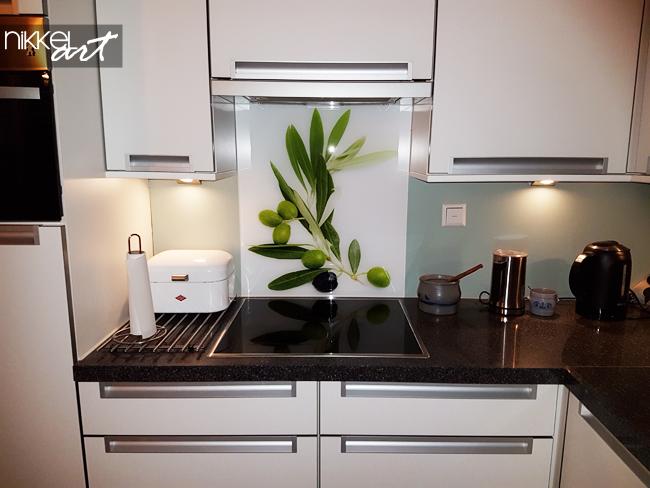 keuken achterwand glas met print