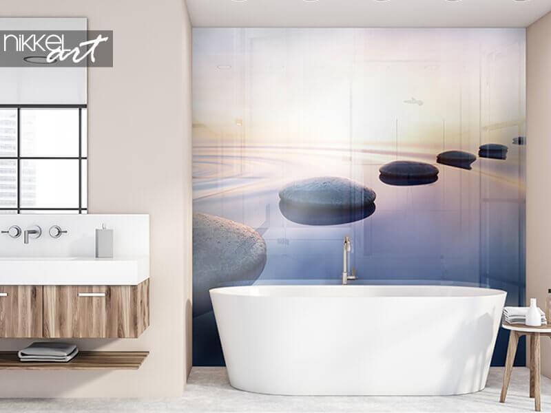 Geef sfeer aan je badkamer met een foto achterwand