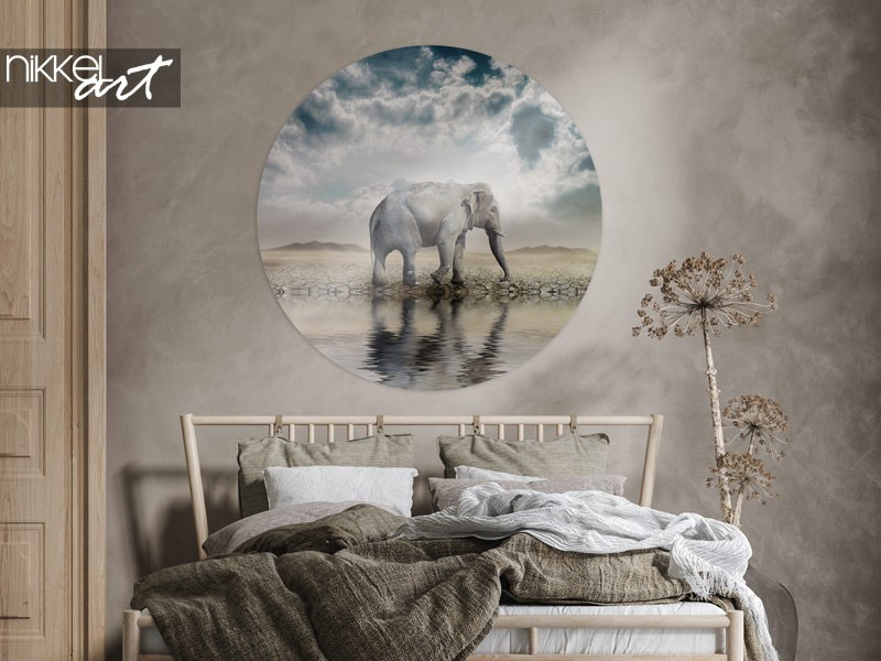 8 x olifanten als wanddecoratie