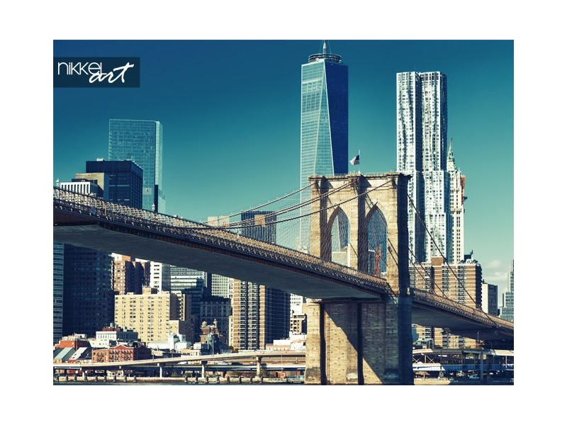 Lagere manhattan skyline en brooklyn bridge in new york city