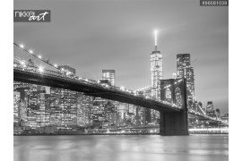 Brooklyn Brug in de schemering new york city