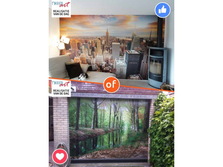 Fotobehang New York vs Tuinposter Rivier in bos