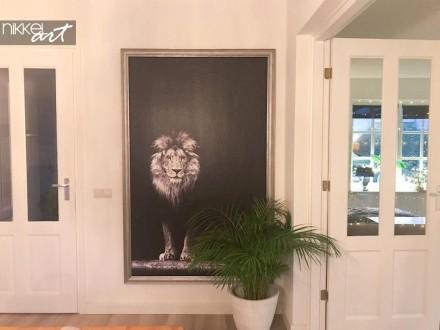 Fotobehang Leeuw in Zwart en Wit