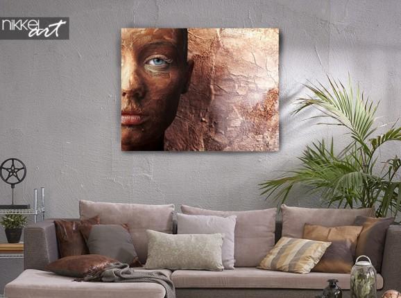 Bronzen portret op canvas