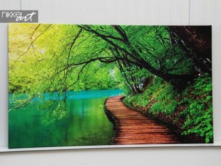 Foto op Canvas Weg in bos