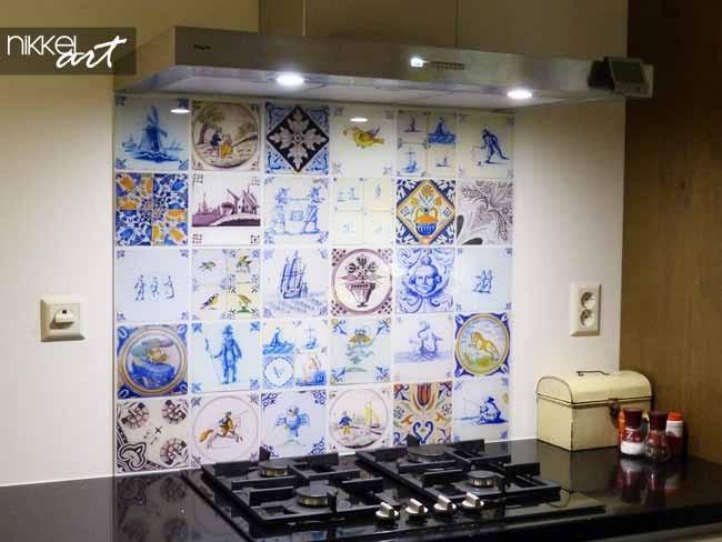 Keuken achterwand met foto van tegels