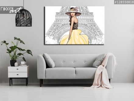Foto op Canvas Gelukkig jongedame geconfronteerd met de toren van Eiffel